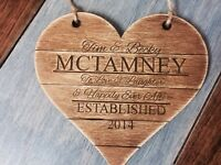 Personalised Wedding Plaque, Beautiful Rustic Gift Idea