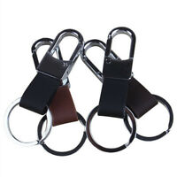 Men's Faux Leather Strap Keyring Keychain Key Chain Ring Keyfob Clip Holder H_ti