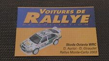 Certificat Voiture De Rallye De Collection « Skoda Octavia WRC »TBE.