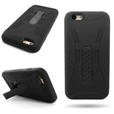Tough Black Hard / Soft Cover Heavy Duty Kickstand Case for Apple iPhone 6 Plus