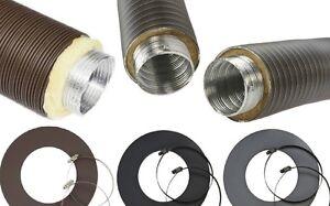 Aluflex Rohr isoliert Grau Schwarz 50 60 67 80 100 125 mm Zuluft Ofen Isoflex
