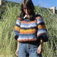 Womens Fashion Multicolor Striped Mohair Pullover Knitted Sweater Cardigan top