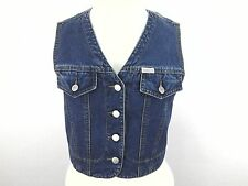 GUESS JEANS Women's Cropped Blue Denim Vest Vintage RARE sz Medium M  USA!