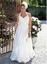 Halter Plus Size Chiffon Bridal Gown Beach Wedding Dress Cheap White Custom Size