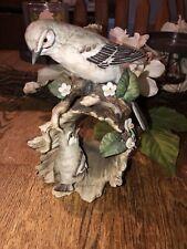 Vtg Masterpiece Porcelain by Homco 1979 Mockingbird & Baby Bird Flowers Figurine