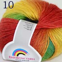 AIP Soft Cashmere Wool Colorful Rainbow Shawl DIY Hand Knitting Yarn 50gr 10