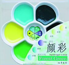 NEW Boku-Undo Gansai Forest Green 6 Color Set Plum blossom dish Painting