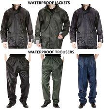 Mens waterproof jacket coat or over trousers rain suit fishing work windproof