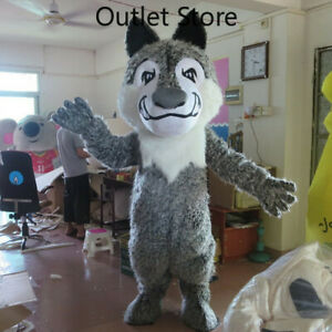 Halloween Cartoon Gray Wolf Cosplay Mascot Costume Party Game Dress Carnival