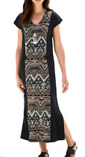 UK Size 10 - 38 Ladies Stretchy Long Calf Length Maxi Dress With Slimming Panel 28