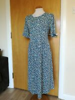Ladies Dress Size M 12 14 ADINI Blue Spotted Stretch Smart Casual Day Party