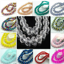 Hot 3mm4mm6mm8mm10mm Rondelle Faceted Crystal Glass Loose Spacer Beads DIY