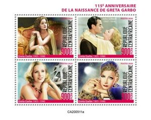 Central African Rep Famous People Stamps 2020 MNH Greta Garbo Celebrities 4v M/S