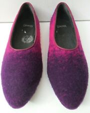 Camper Pink & Purple Woolly Slip On Shoes - Size UK 2 EUR 35
