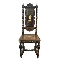 Antique Italian Renaissance Revival Inlay Ebonized Carved Walnut Tall Back Chair