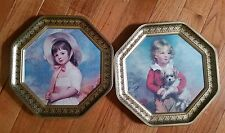 Vintage Octagon Shaped Cookie Biscuit Tin Victorian Girl and Boy Portraits Decor