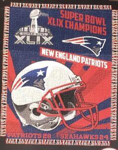 "NFL New England Patriots Superbowl XLIX 46 ""X 60"" WOVEN JACQUARD THROW"