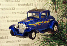 '32 FORD COUPE 1932 BLUE BLACK W FLAMES CHRISTMAS TREE ORNAMENT XMAS