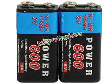 2x Durable 9V Bloque de 600mAh Poder Negro Ni-Mh batería recargable PPS