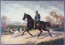 """Ancien Tableau """"Cavalier Chassant à Courre"""" Peinture Huile Antique Oil Painting"""