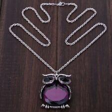 YazilindCute Purple Crystal Owl Tibet Silver Pendant long Chain Sweater Necklace