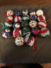 22 Vintage Quilt Fabric Round Christmas Balls Ornaments Mid Century 60s 70s