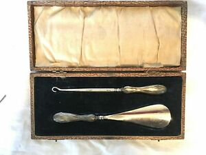 English Boxed Sterling Silver Handled Shoe Horn And Button Hook Set