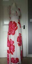 DKNY JEANS Designer Off White Floral Print Spagetti Straps Maxi Dress Size UK 6
