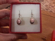 Brand new small Silver earrings with pink moonstone look stones and gift box