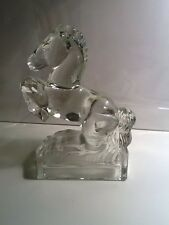 "Vintage Glass Horse Bookend Figurine Rearing Up 8"" H X 5"" W"