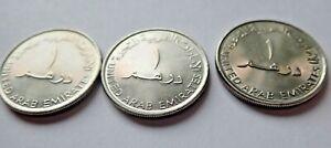 Lot of (3) UNCIRCULATED United Arab Emirates 2007 1 Dirham Copper-Nickel Coins