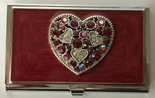 Red Enameled Business Card Case With Crystals and Large Heart, New In Pouch
