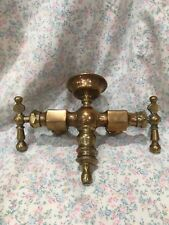 Rare Antique Brass Double Faucets Stebbins Co Brightwoods MA Tub Stopper Holder