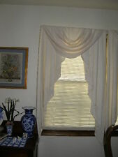 """2504) 1 Pair Formal Ivory On Ivory Lined Drapes W Valance Ea 61""""L 14"""" W Valance"""