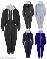 Mens Ladies Plus Size Big Plain 1Onesie All In One Hooded Jumpsuit Sizes S- 5XL