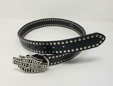 Harley Davidson Black Studded Leather Belt Large Buckle Size 34
