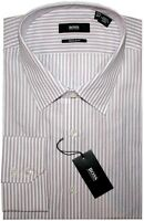 NEW HUGO BOSS WHITE w BURGUNDY & PINK STRIPES REGULAR FIT DRESS SHIRT 16.5 32/33