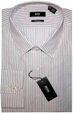NEW HUGO BOSS WHITE w BURGUNDY & PINK STRIPES REGULAR FIT DRESS SHIRT 16.5 32/33