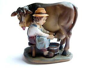 Krippenzubehör Krippenfiguren K918 Junge beim Melken einer Kuh für 12cm Figuren