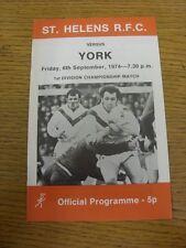 06/09/1974 programma Rugby League: ST. Helens V York (variazioni della squadra, ITE piegata).