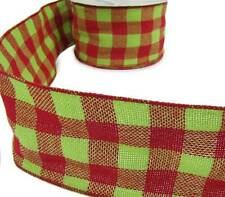 """3 Yds Christmas Red Grinch Green Plaid Burlap Jute Like Wired Ribbon 4""""W"""