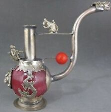 Old Handwork Red Jade inlay Pipe Tibet Silver Dragon Smoking Pipe Collectible