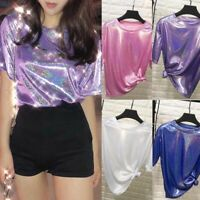 Women's Shiny Laser T-Shirt Short Sleeve Blouses Tops Party Tee Fashion Clubwear