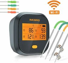 Bbq Meat Thermometer WiFi Inkbird Ibbq4T Digital Rechargeable Grill Smoker Oven