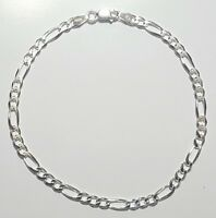 925 Sterling Silver Figaro Link Bracelet 8 inch Long  4mm wide Made in Italy