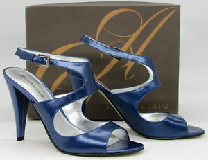 Enzo Angiolini Women's Zizzi Strappy Blue Leather Heels Pumps Shoes 7.5 M New