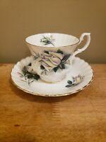 Vintage ROYAL ALBERT Bone China England CUP & SAUCER White Roses Gold Trim