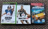Lot Of 3 PlayStation 2 Games Arena Football NBA Live 09 Need For Speed 2
