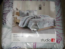 NEW Twin XL Comforter Set w/ Sham 2 Pillows Gray White Floral Blanket College