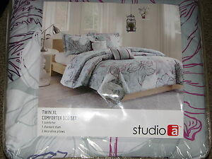 NEW Twin XL Comforter Set w/ Sham & 2 Pillows Gray White Purple Floral Blanket